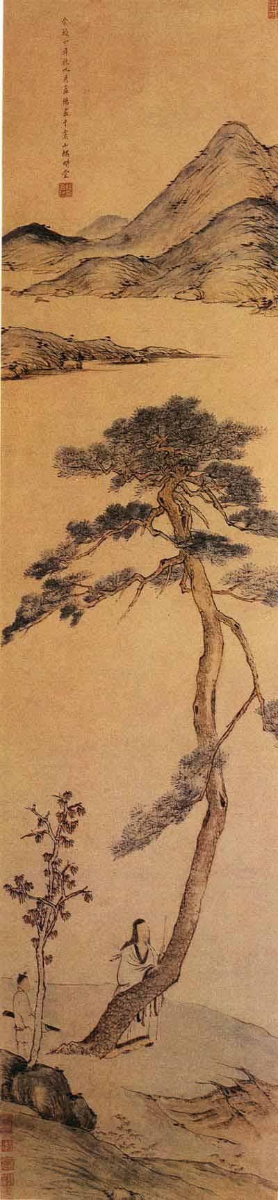 《孤松高士图》轴,明,程嘉燧