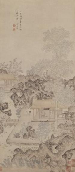 《一梧轩图》轴,明,卞文瑜