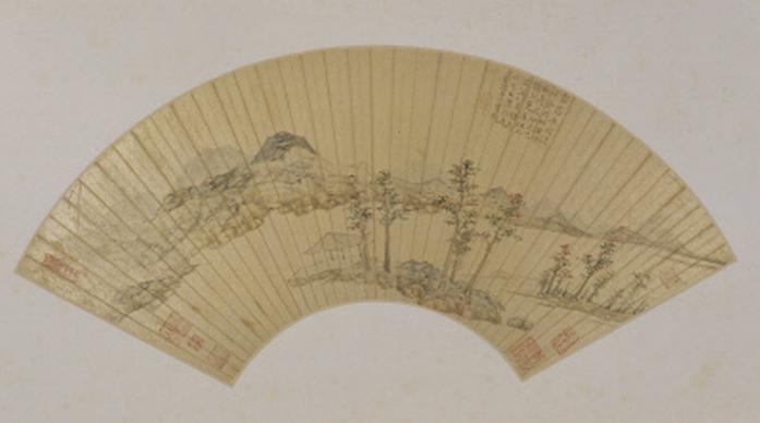 《仿倪山水图》扇页,明,陆治