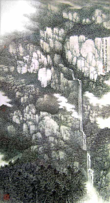 悬崖青壁断 地险碧流通96x180cm 2009年