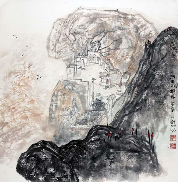 画家刘刚必威体育betway888作品欣赏-河曲小榆林