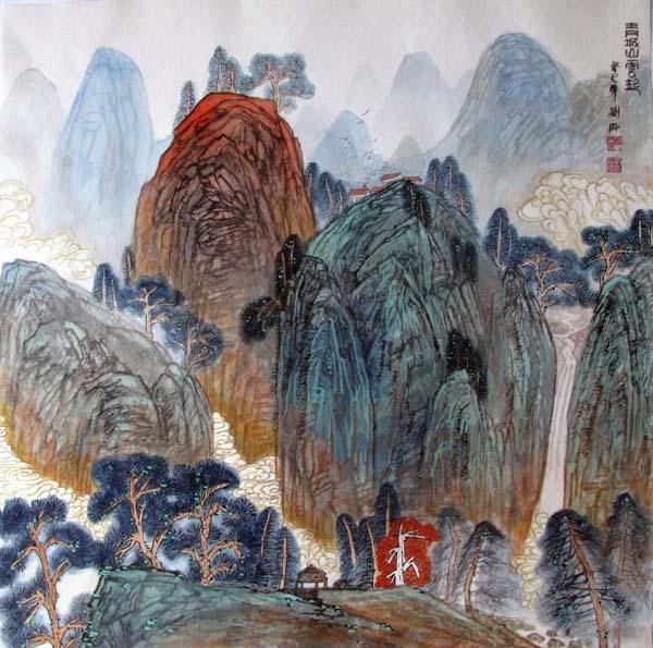 画家刘刚必威体育betway888作品欣赏-青城山云起