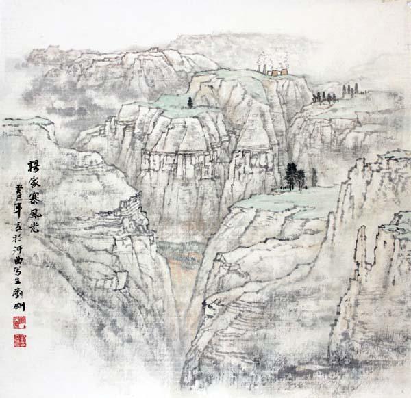 画家刘刚必威体育betway888作品欣赏-杨家寨风光