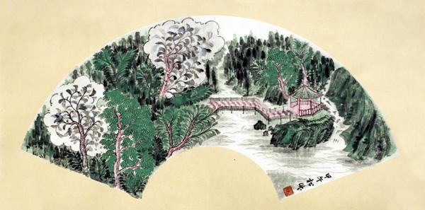 中国必威体育betway888家周松竹作品-《清韵和音》系列之扇面1尺寸:扇面2014年