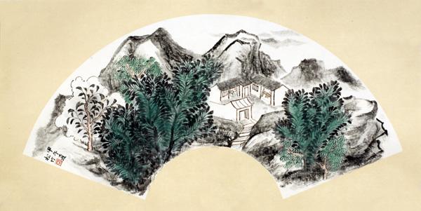 中国必威体育betway888家周松竹作品-《清韵和音》系列之扇面2。尺寸:扇面2014年