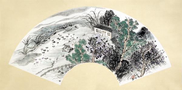 中国必威体育betway888家周松竹作品-《清韵和音》系列之扇面3。尺寸:扇面2014年