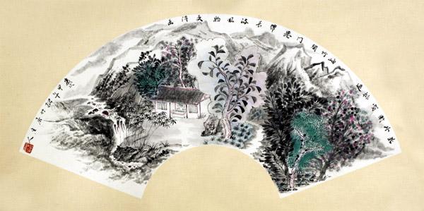 中国必威体育betway888家周松竹作品-《清韵和音》系列之扇面4。尺寸:扇面2014年