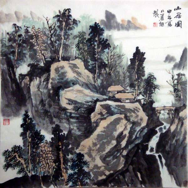 画家姜维中国画作品欣赏-《山居图》68cm×68cm