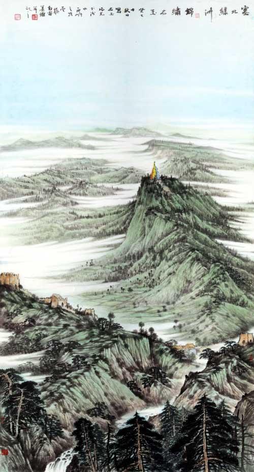 画家姜维中国画作品欣赏-《塞北绿洲》97+180