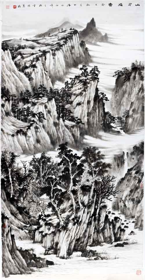 画家姜维中国画作品欣赏-《山水清音》