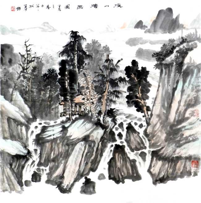 画家姜维中国画作品欣赏-溪山清幽图68+68