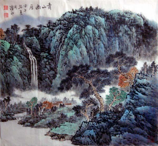 中国必威体育betway888家高潭印作品欣赏:青山幽居68cm×68cm