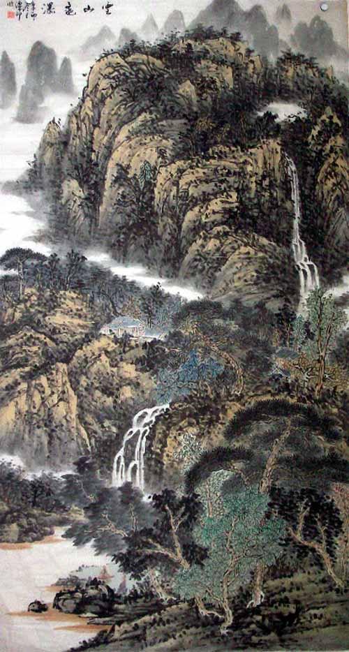 中国必威体育betway888家高潭印作品欣赏:云山飞瀑