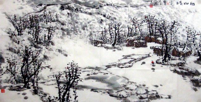 画家唐朝阳先生作品欣赏-白山晴雪图