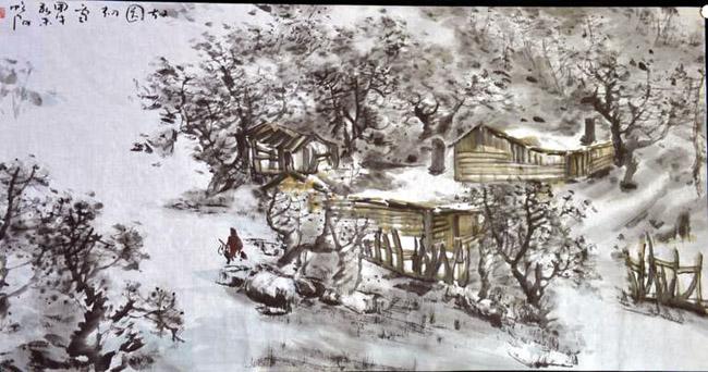 画家唐朝阳先生作品欣赏-故园初雪80cmx190cm
