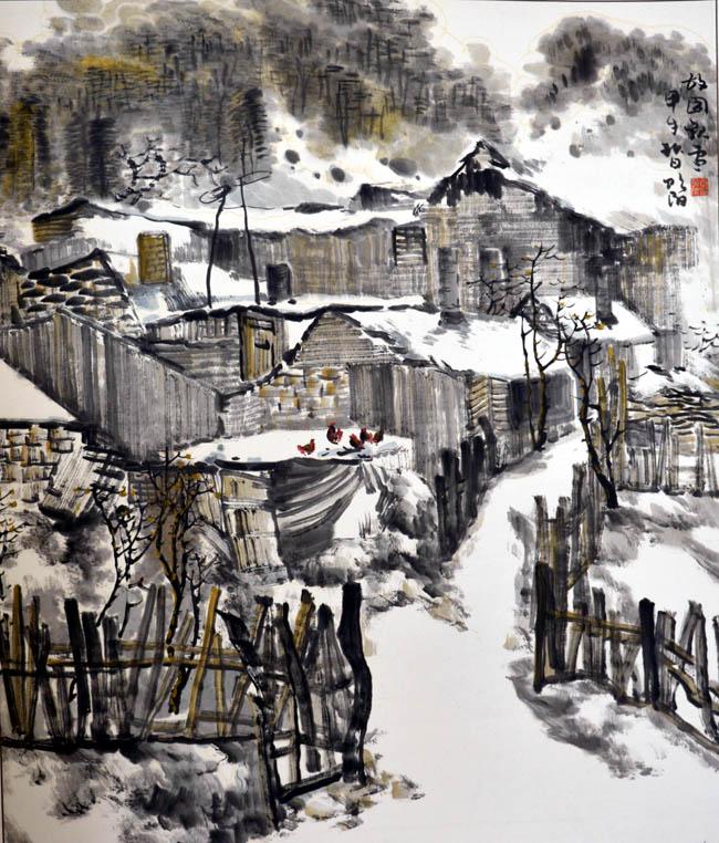 画家唐朝阳先生作品欣赏-故园观雪16cmx15cm