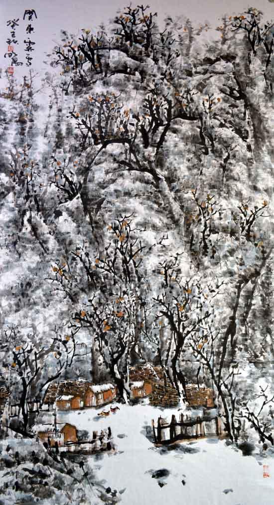 画家唐朝阳先生作品欣赏-关东霁雪190cmx96cm