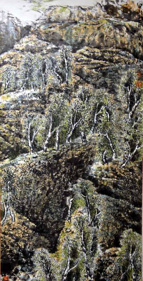 画家唐朝阳先生作品欣赏-长白岳桦68cmx137cm