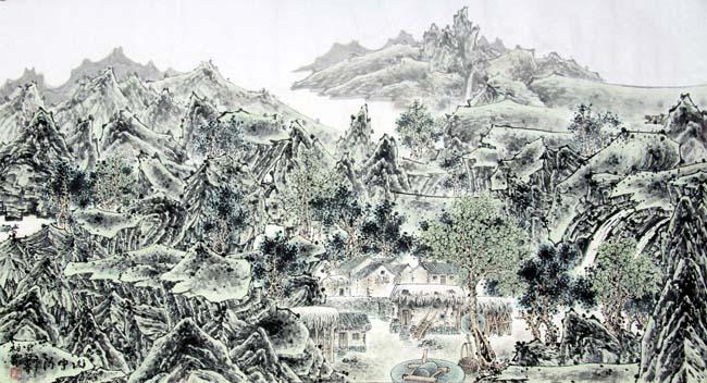 《山中流年青绿》94x178cm