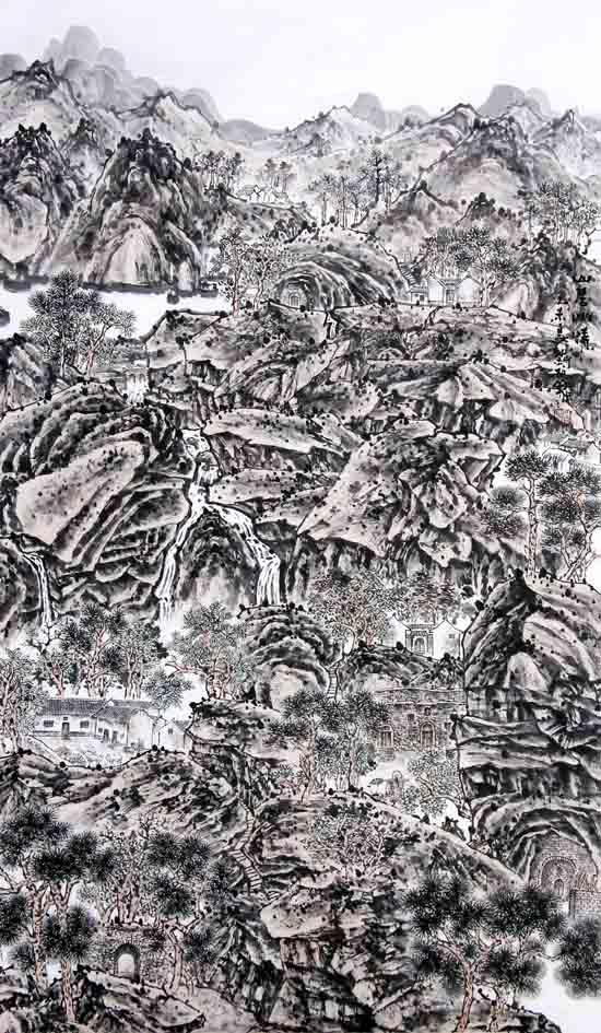 画家刘柏山先生作品欣赏:山居幽情178x94cm