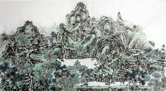 画家刘柏山先生作品欣赏:泰岱清晖178x94cm