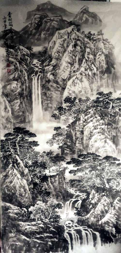 画家安明远先生作品:青松蔽日