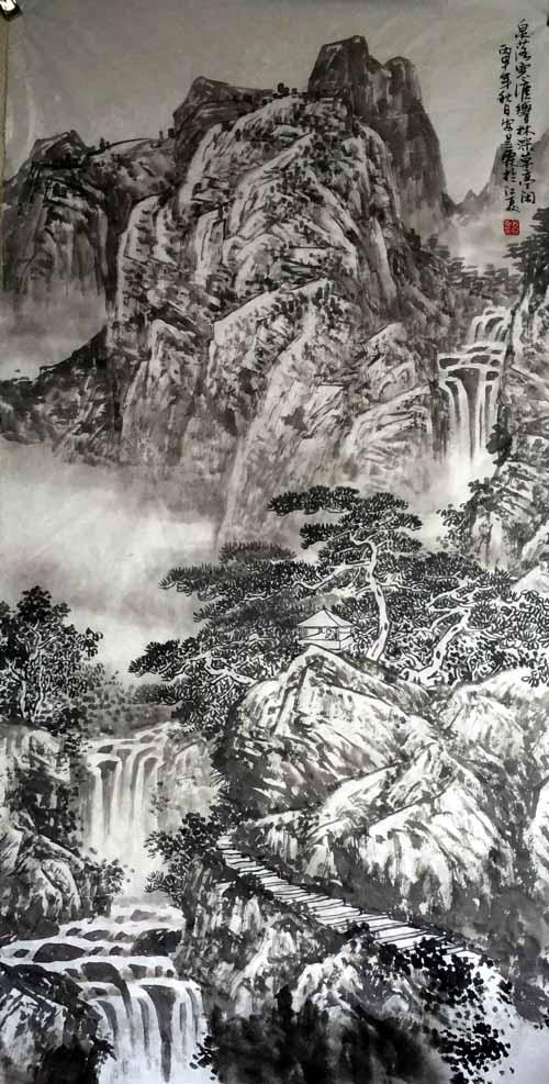 画家安明远先生作品:泉落寒崖响