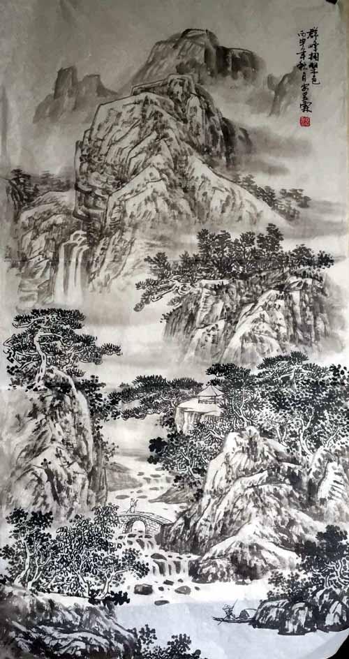 画家安明远先生作品:群峰拥翠色