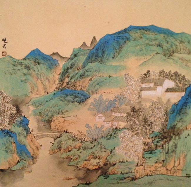 孙晓君作品:家在青山绿水间 68X68CM