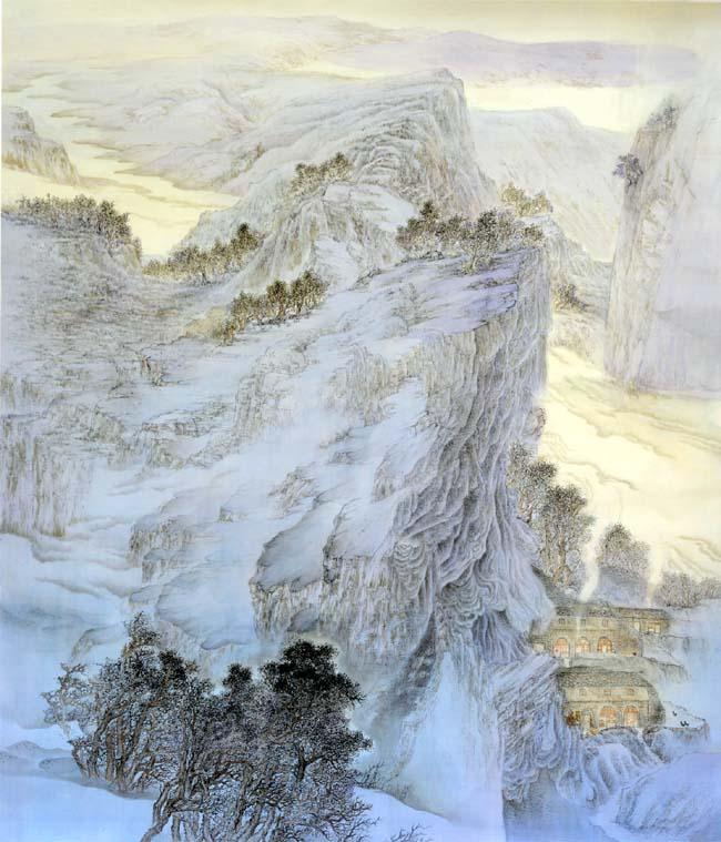 孙晓君作品:嵩岑紫烟 160X200CM 创作于2014年,绢本