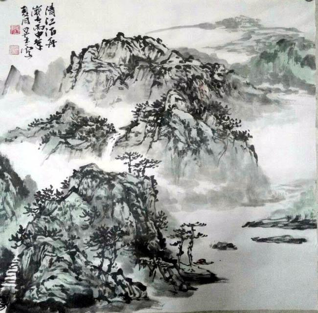 画家闫早杰必威体育betway888作品:清江泊舟
