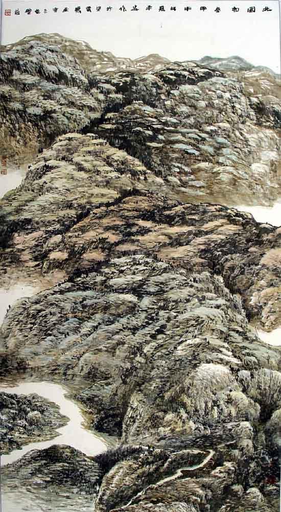 画家丁平安先生作品:《北国初春》:179cmX90cm