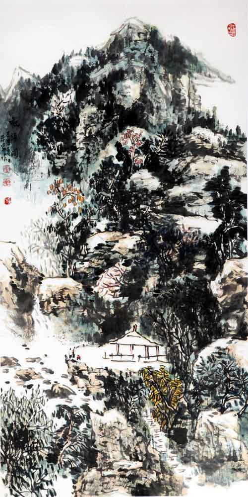 画家丁平安先生作品:《观瀑图》规格:138cmX69cm
