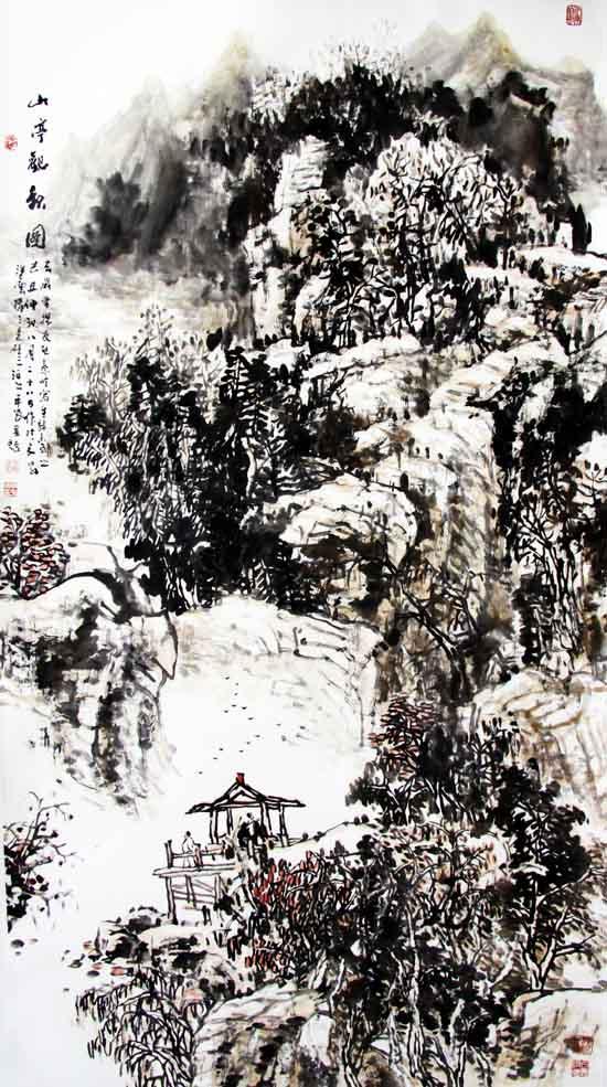画家丁平安先生作品:山亭观秋图178×94cm