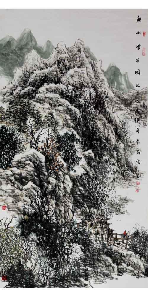 画家丁平安先生作品:《秋山怀古》格:179cmX90cm