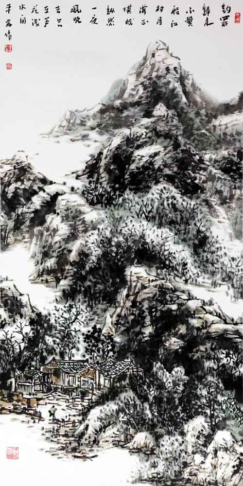 画家丁平安先生作品:《江村归舟 》规格:138cmX69cm