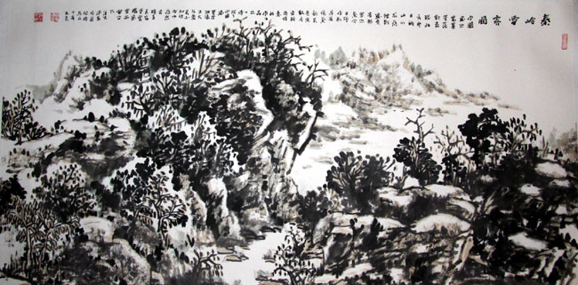 画家丁平安先生作品:《秦岭雪霁图》138x69cm