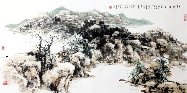 画家丁平安先生作品:《秋江泊舟》规格:138cmX69cm