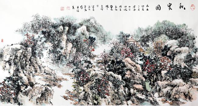 画家丁平安先生作品:《秋实图》格:179cmX90cm