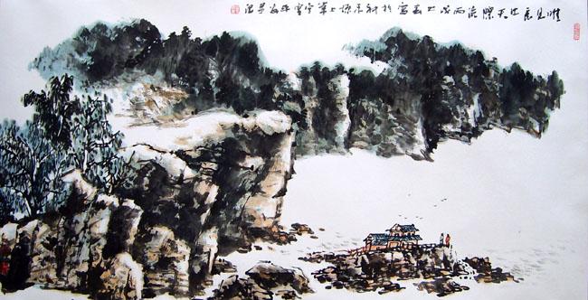 画家丁平安先生作品:《长江东去》格:179cmX90cm
