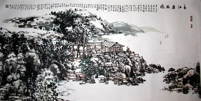 画家丁平安先生作品:《长江东去图》138x69cm