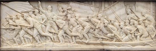 刘开渠 人民英雄纪念碑浮雕·胜利渡长江 200×612cm 汉白玉 1958年
